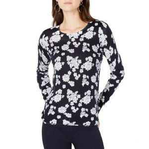 Michael Kors Floral Print Ribbed Crew Neck Shirt